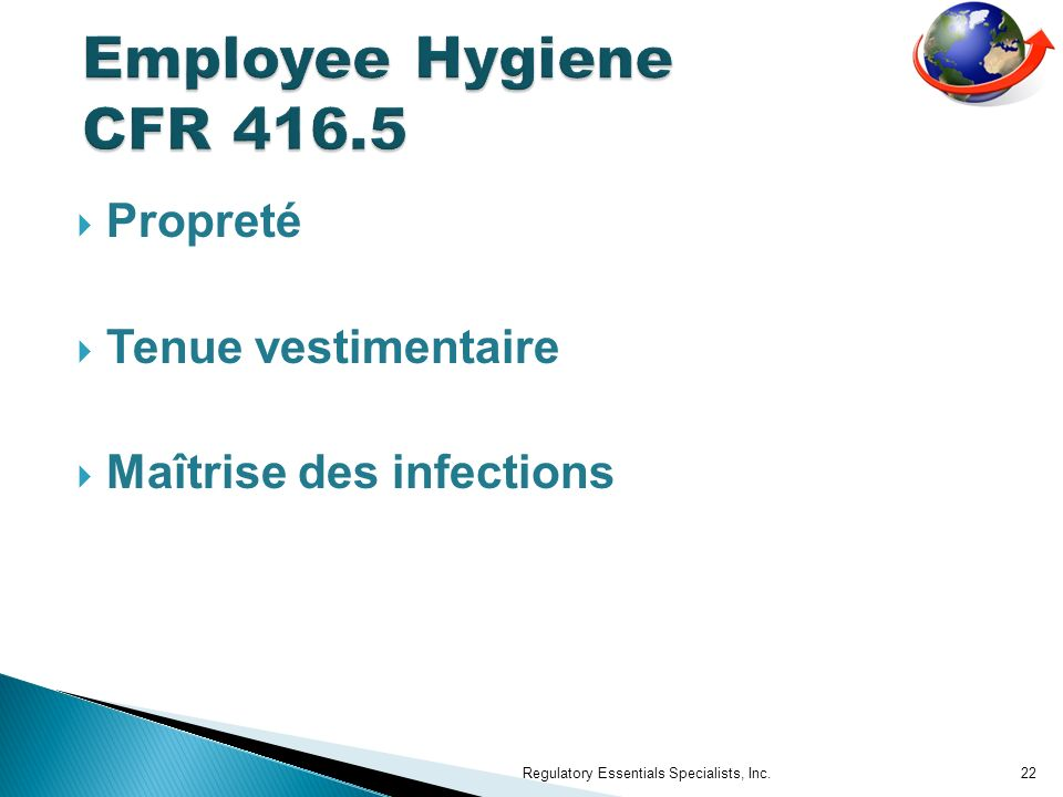Propreté Tenue vestimentaire Maîtrise des infections Regulatory Essentials Specialists, Inc.22