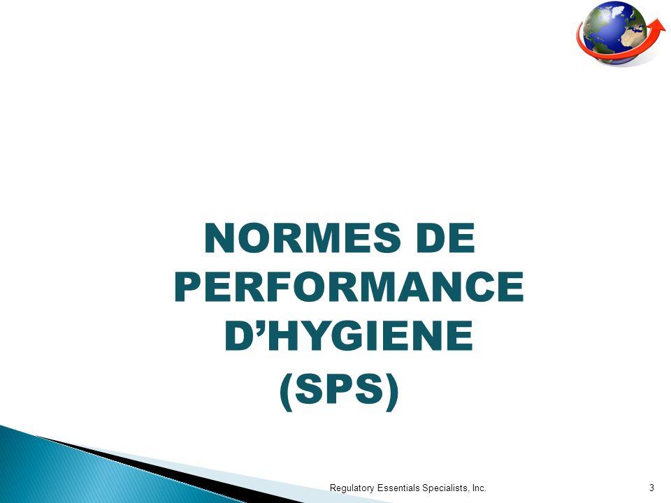 SSOP (Procédures opérationnelles standard dhygiène) Regulatory Essentials Specialists, Inc.24