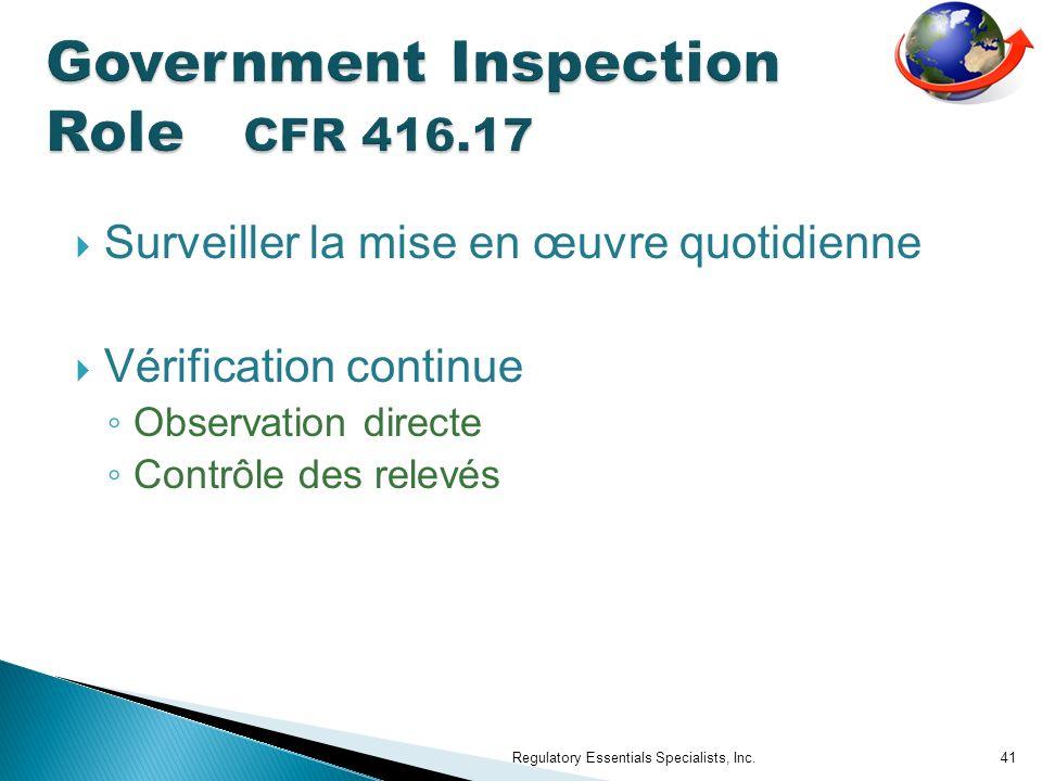 Surveiller la mise en œuvre quotidienne Vérification continue Observation directe Contrôle des relevés Regulatory Essentials Specialists, Inc.41