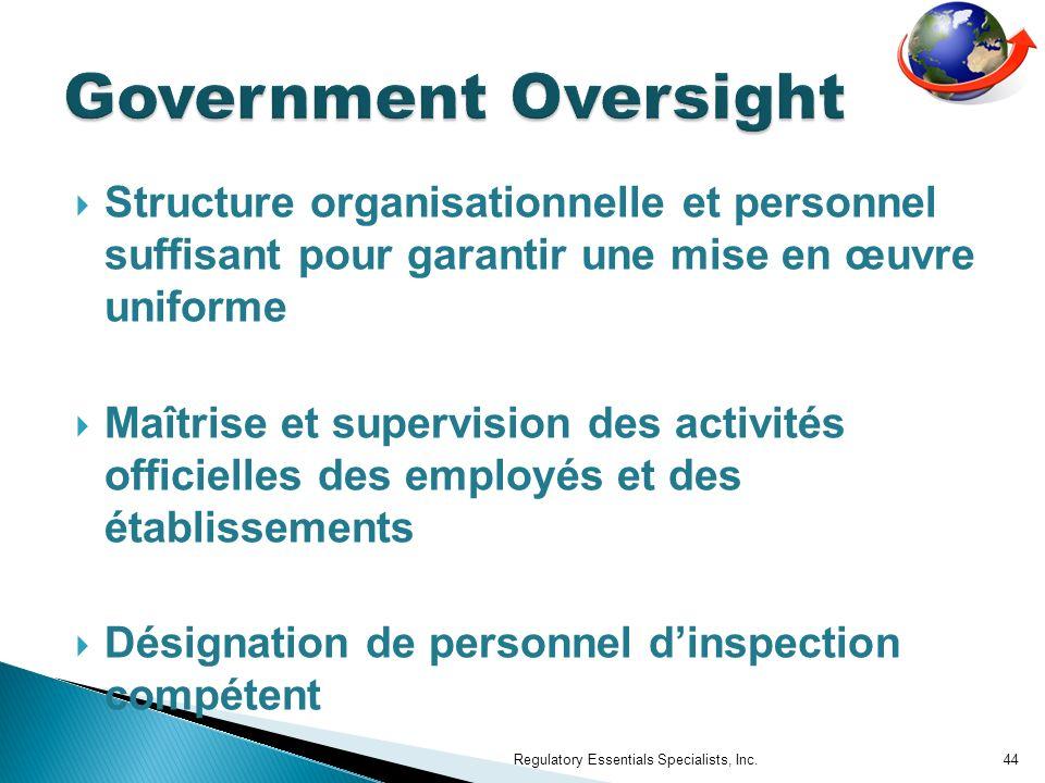 Structure organisationnelle et personnel suffisant pour garantir une mise en œuvre uniforme Maîtrise et supervision des activités officielles des empl