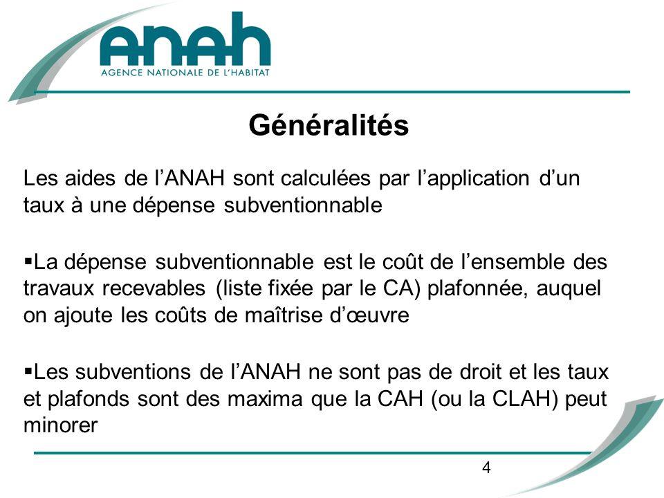 4 Les aides de lANAH sont calculées par lapplication dun taux à une dépense subventionnable La dépense subventionnable est le coût de lensemble des tr