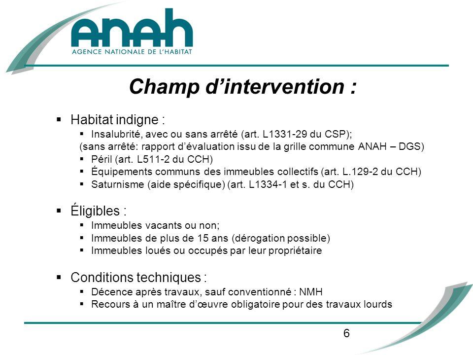 6 Champ dintervention : Habitat indigne : Insalubrité, avec ou sans arrêté (art. L1331-29 du CSP); (sans arrêté: rapport dévaluation issu de la grille