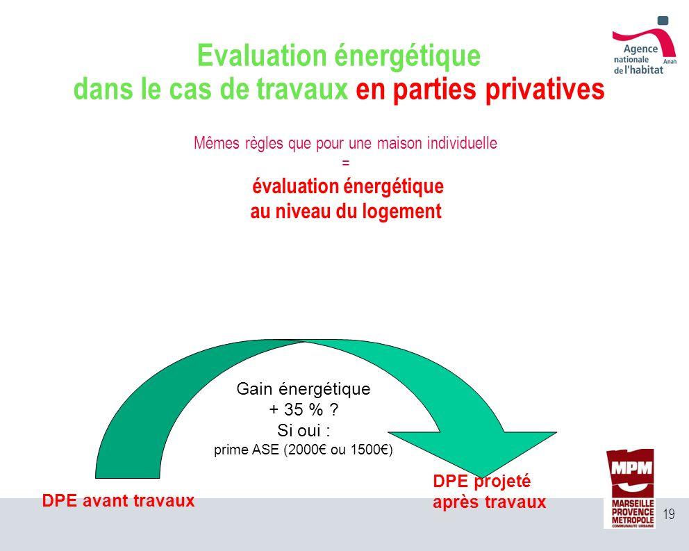 19 Mêmes règles que pour une maison individuelle = évaluation énergétique au niveau du logement Evaluation énergétique dans le cas de travaux en parti