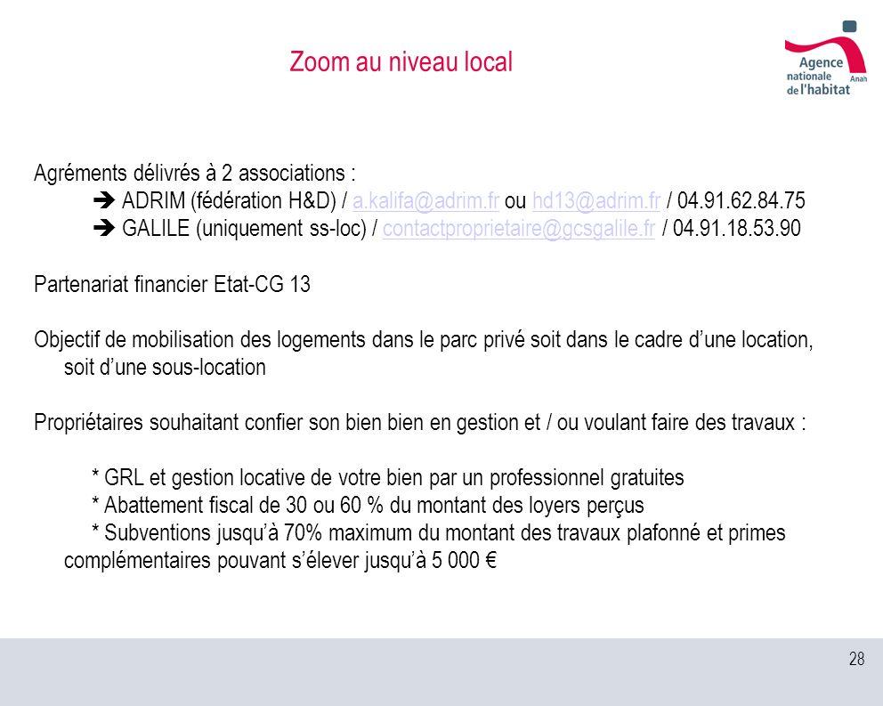 28 Zoom au niveau local Agréments délivrés à 2 associations : ADRIM (fédération H&D) / a.kalifa@adrim.fr ou hd13@adrim.fr / 04.91.62.84.75a.kalifa@adr