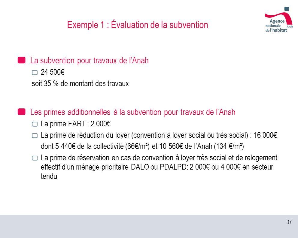 37 Exemple 1 : Évaluation de la subvention La subvention pour travaux de lAnah 24 500 soit 35 % de montant des travaux Les primes additionnelles à la