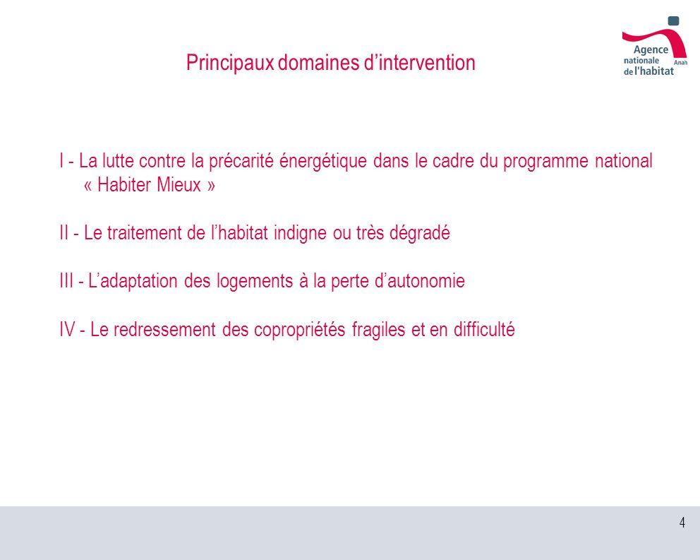 4 Principaux domaines dintervention I - La lutte contre la précarité énergétique dans le cadre du programme national « Habiter Mieux » II - Le traitem
