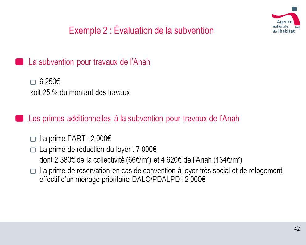 42 Exemple 2 : Évaluation de la subvention La subvention pour travaux de lAnah 6 250 soit 25 % du montant des travaux Les primes additionnelles à la s