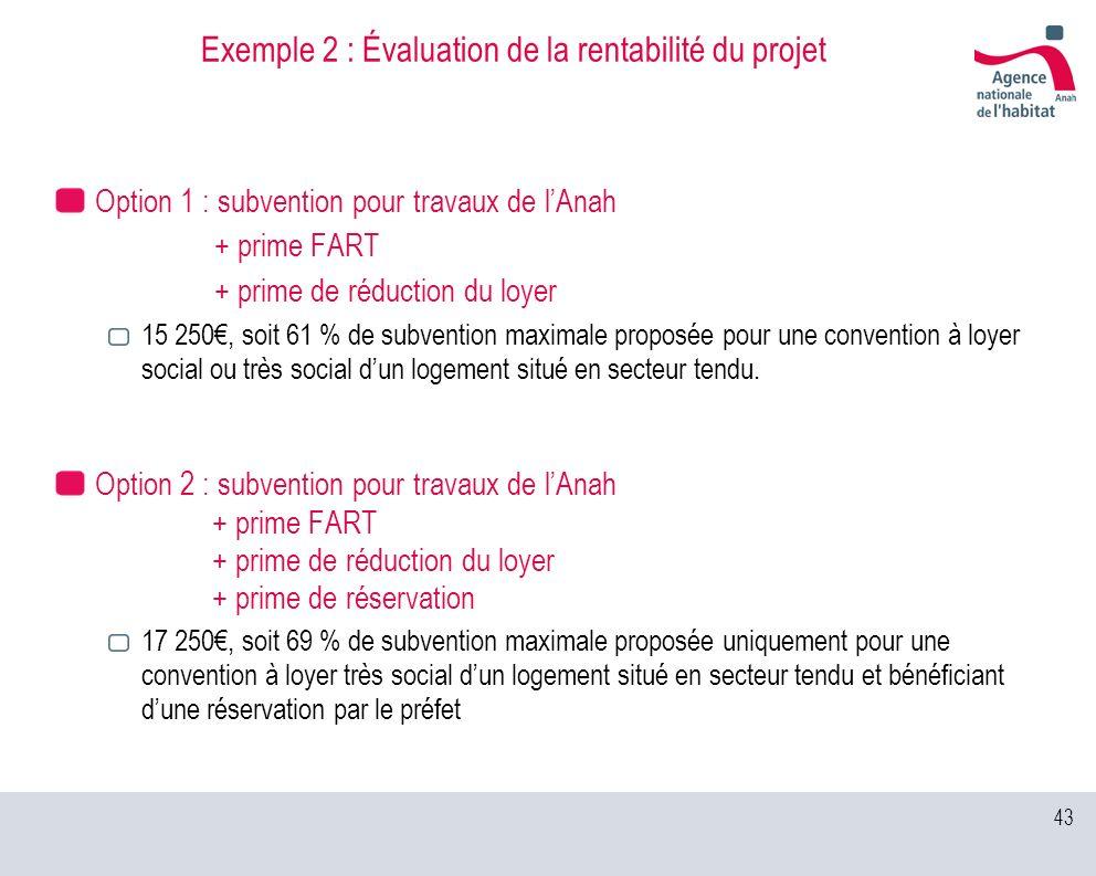 43 Exemple 2 : Évaluation de la rentabilité du projet Option 1 : subvention pour travaux de lAnah + prime FART + prime de réduction du loyer 15 250, s