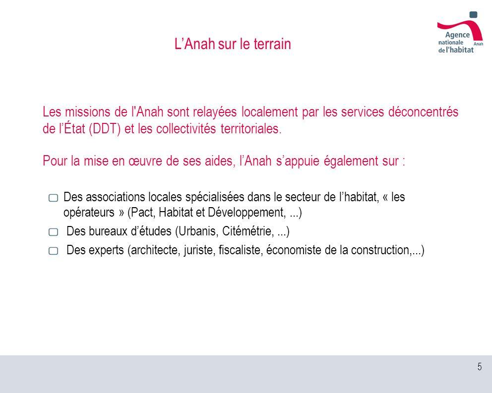 5 Les missions de l'Anah sont relayées localement par les services déconcentrés de lÉtat (DDT) et les collectivités territoriales. Pour la mise en œuv
