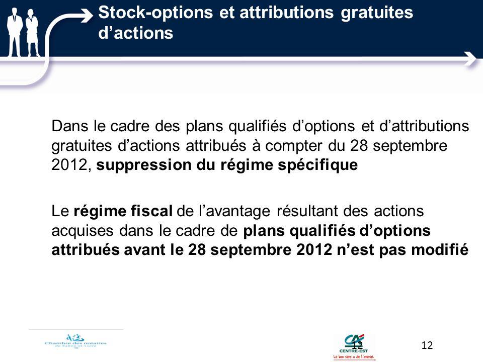 Stock-options et attributions gratuites dactions Dans le cadre des plans qualifiés doptions et dattributions gratuites dactions attribués à compter du