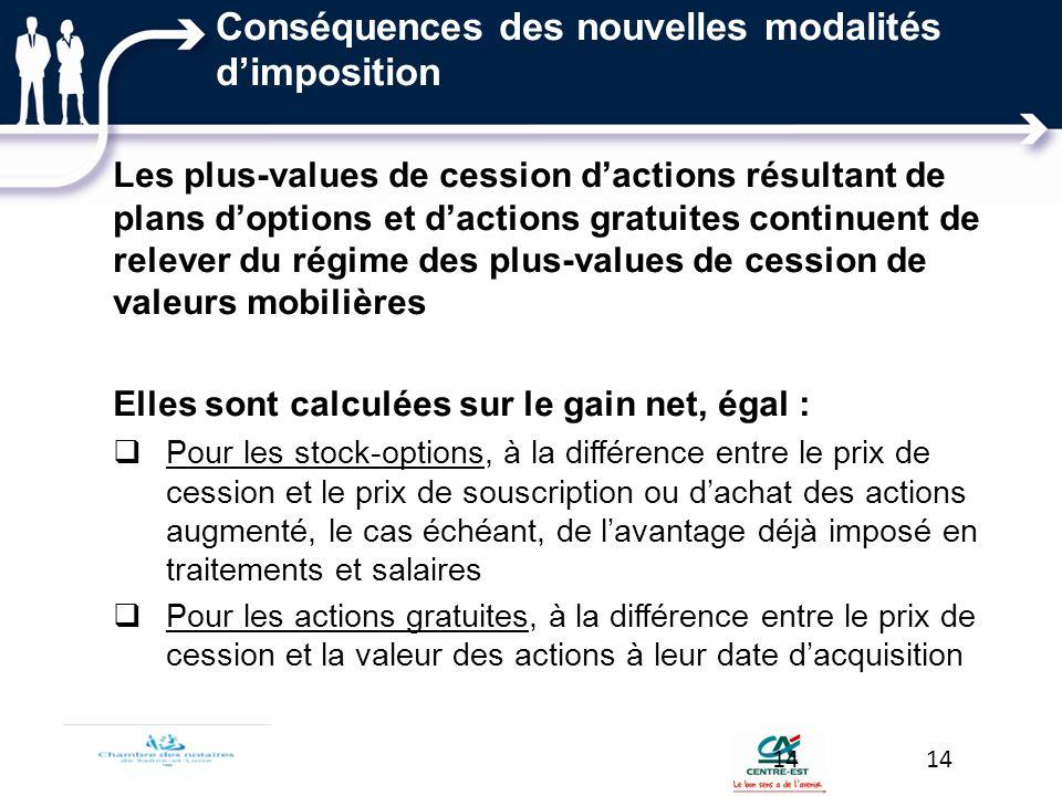 Conséquences des nouvelles modalités dimposition Les plus-values de cession dactions résultant de plans doptions et dactions gratuites continuent de r