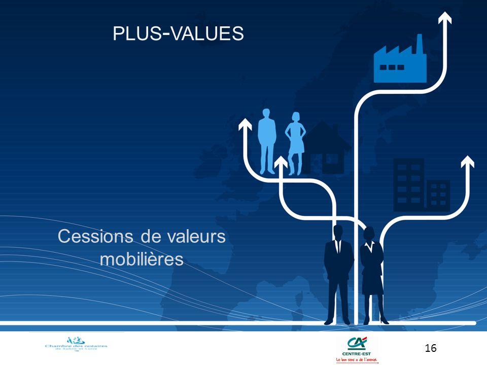 Cessions de valeurs mobilières 16 PLUS - VALUES