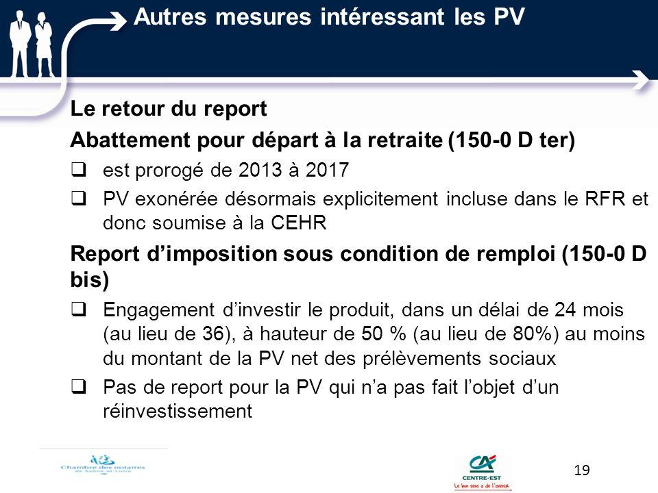 Autres mesures intéressant les PV Le retour du report Abattement pour départ à la retraite (150-0 D ter) est prorogé de 2013 à 2017 PV exonérée désorm