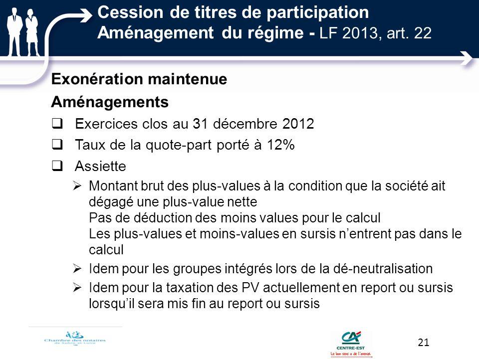 Cession de titres de participation Aménagement du régime - LF 2013, art. 22 Exonération maintenue Aménagements Exercices clos au 31 décembre 2012 Taux