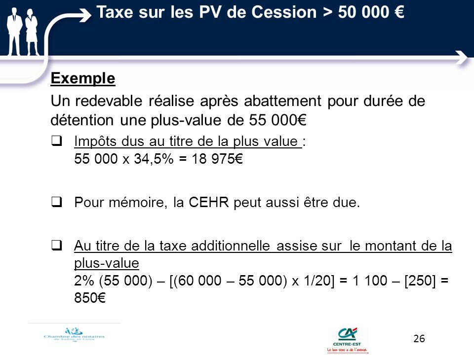 Exemple Un redevable réalise après abattement pour durée de détention une plus-value de 55 000 Impôts dus au titre de la plus value : 55 000 x 34,5% =