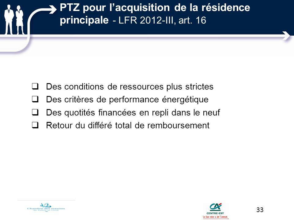 PTZ pour lacquisition de la résidence principale - LFR 2012-III, art. 16 Des conditions de ressources plus strictes Des critères de performance énergé