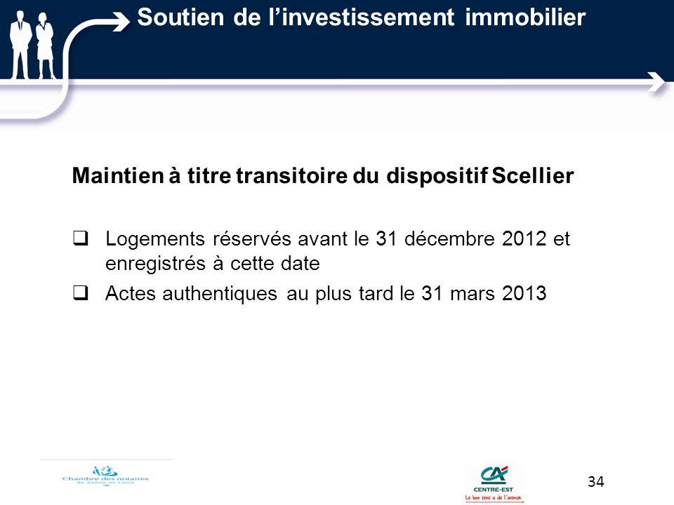 Soutien de linvestissement immobilier Maintien à titre transitoire du dispositif Scellier Logements réservés avant le 31 décembre 2012 et enregistrés