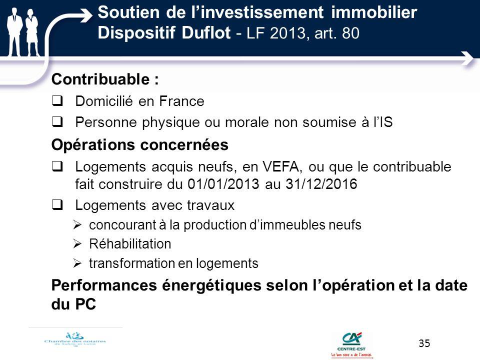 Soutien de linvestissement immobilier Dispositif Duflot - LF 2013, art. 80 Contribuable : Domicilié en France Personne physique ou morale non soumise