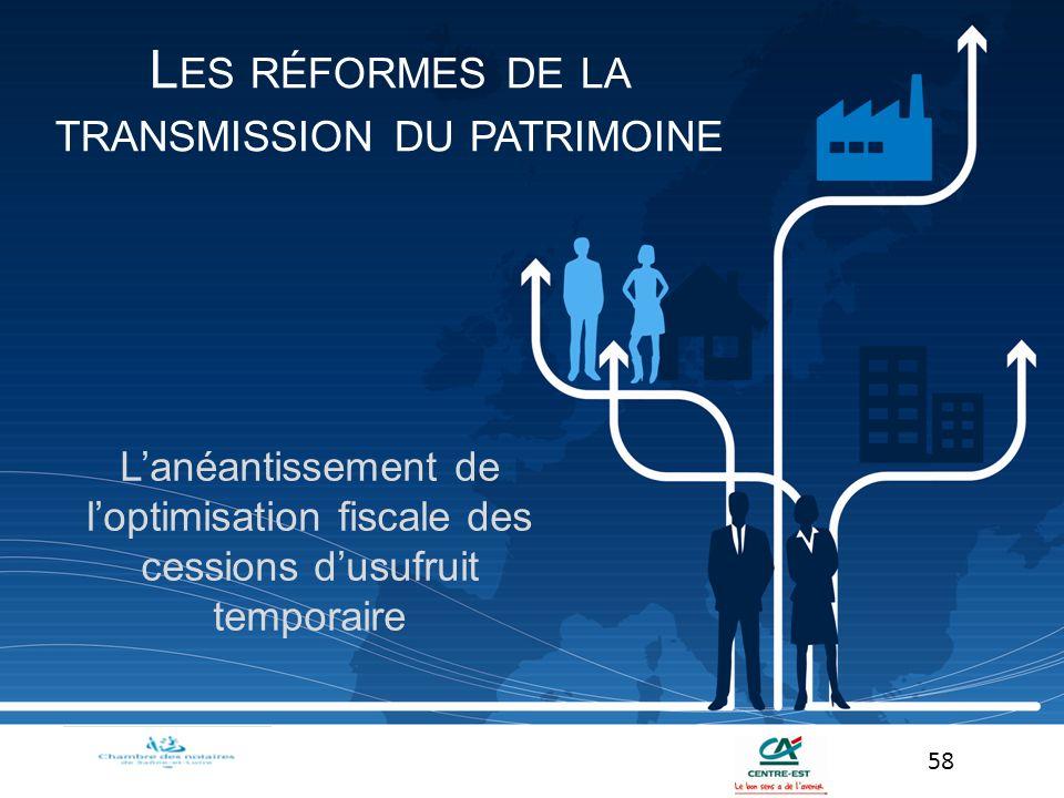 Lanéantissement de loptimisation fiscale des cessions dusufruit temporaire 58 L ES RÉFORMES DE LA TRANSMISSION DU PATRIMOINE