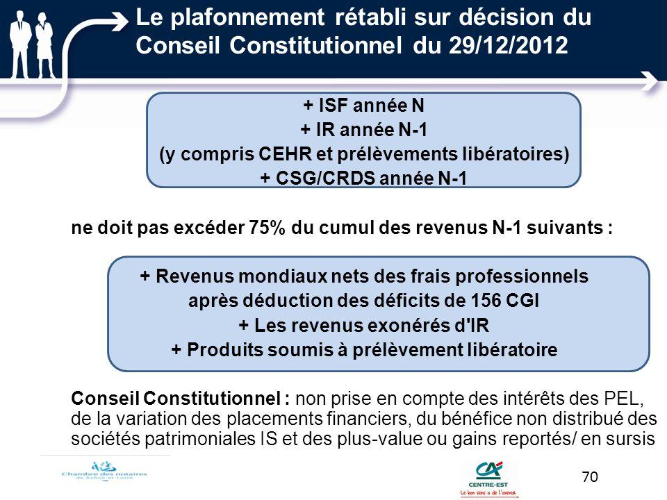 + ISF année N + IR année N-1 (y compris CEHR et prélèvements libératoires) + CSG/CRDS année N-1 ne doit pas excéder 75% du cumul des revenus N-1 suiva