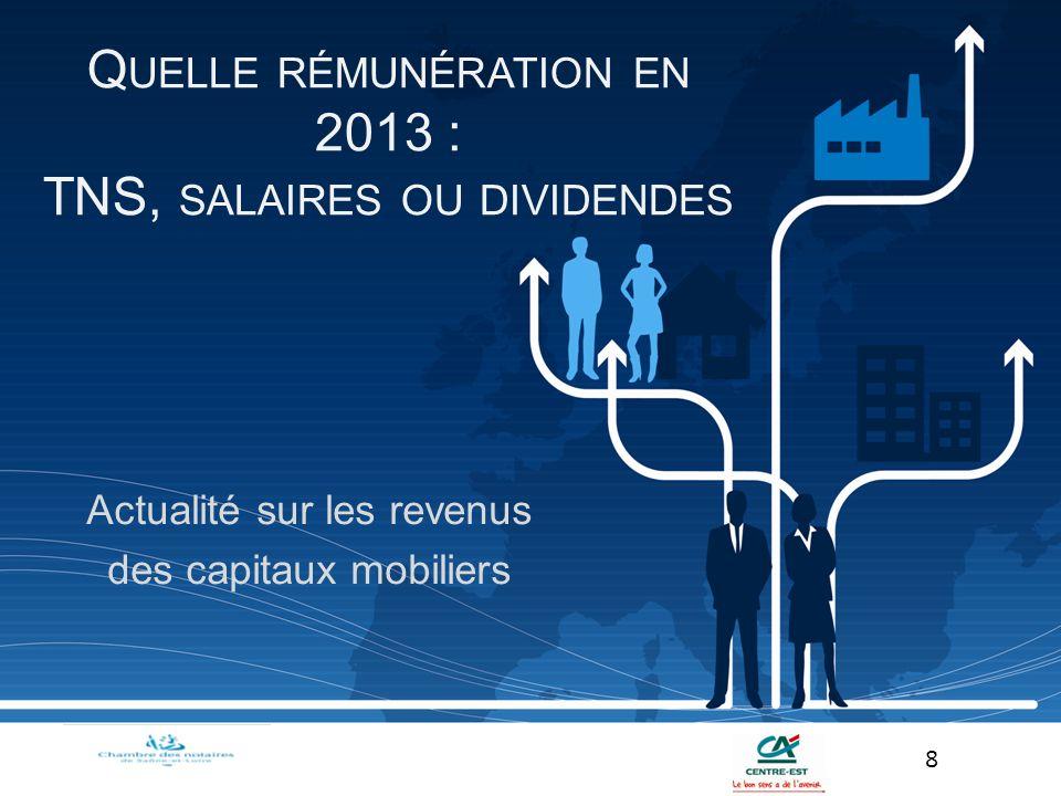 Actualité sur les revenus des capitaux mobiliers 8 Q UELLE RÉMUNÉRATION EN 2013 : TNS, SALAIRES OU DIVIDENDES
