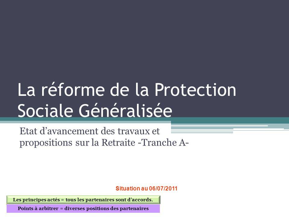 La réforme de la Protection Sociale Généralisée Etat davancement des travaux et propositions sur la Retraite -Tranche A- Situation au 06/07/2011 Les p