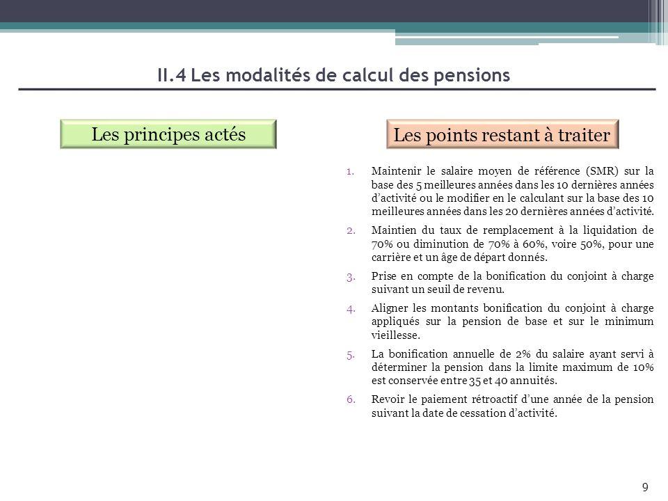 II.4 Les modalités de calcul des pensions Les principes actés Les points restant à traiter 9 1.Maintenir le salaire moyen de référence (SMR) sur la ba
