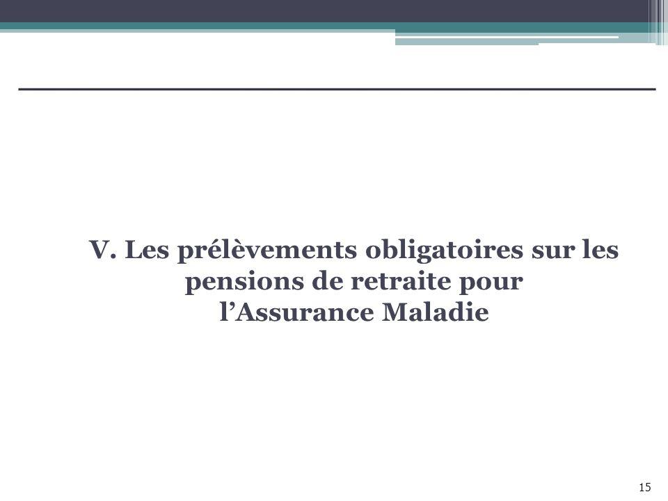 V. Les prélèvements obligatoires sur les pensions de retraite pour lAssurance Maladie 15