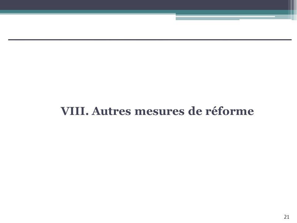 VIII. Autres mesures de réforme 21