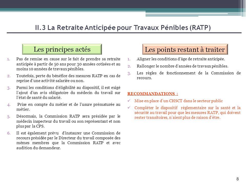 II.3 La Retraite Anticipée pour Travaux Pénibles (RATP) Les principes actés Les points restant à traiter 1.Aligner les conditions dâge de retraite ant