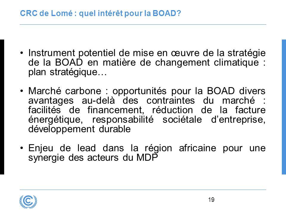 19 CRC de Lomé : quel intérêt pour la BOAD? Instrument potentiel de mise en œuvre de la stratégie de la BOAD en matière de changement climatique : pla