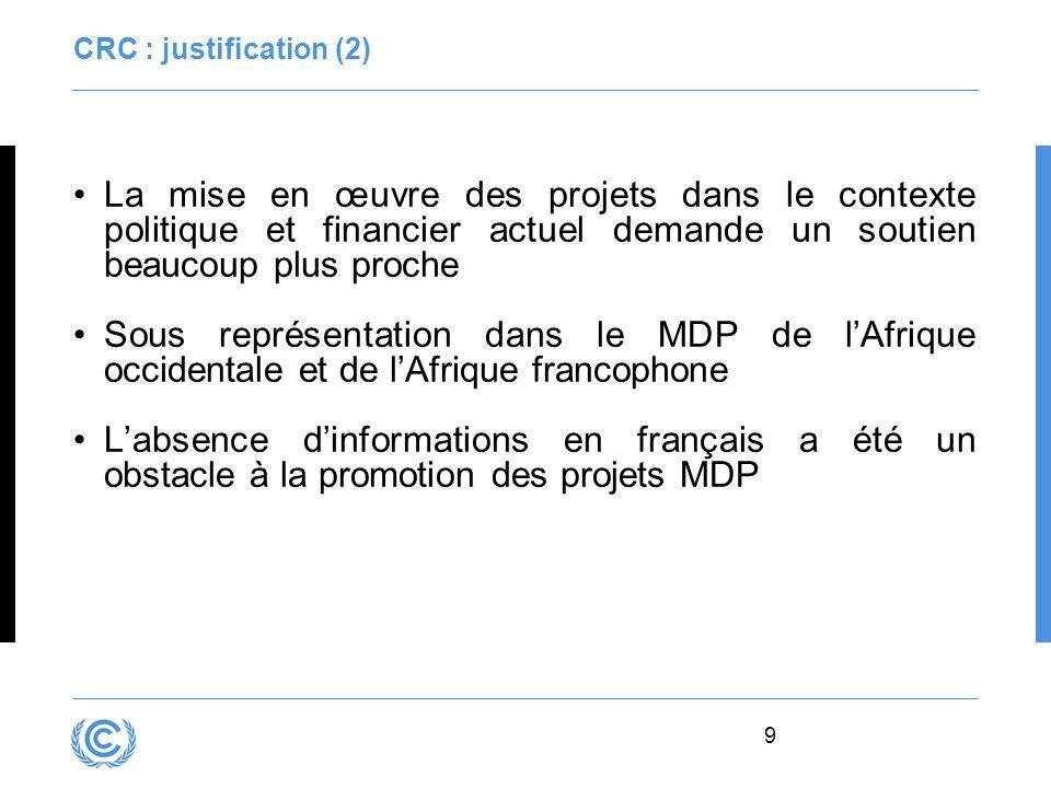 9 CRC : justification (2) La mise en œuvre des projets dans le contexte politique et financier actuel demande un soutien beaucoup plus proche Sous rep