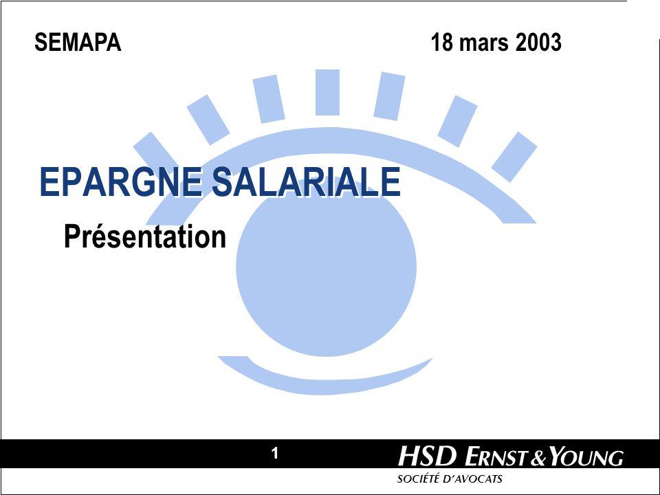 1 HSD SOCIÉTÉ DAVOCATS EPARGNE SALARIALE Présentation SEMAPA 18 mars 2003