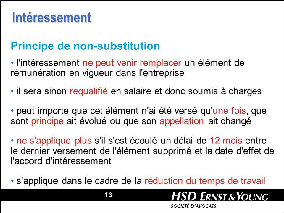 13 HSD SOCIÉTÉ DAVOCATS Principe de non-substitution l'intéressement ne peut venir remplacer un élément de rémunération en vigueur dans l'entreprise i