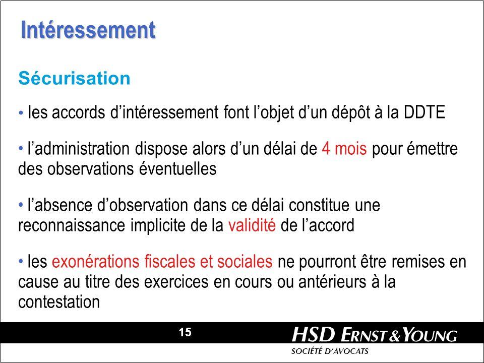 15 HSD SOCIÉTÉ DAVOCATS Sécurisation les accords dintéressement font lobjet dun dépôt à la DDTE ladministration dispose alors dun délai de 4 mois pour