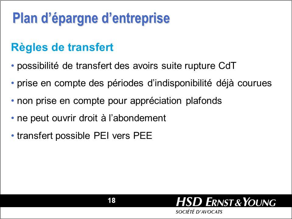 18 HSD SOCIÉTÉ DAVOCATS Règles de transfert possibilité de transfert des avoirs suite rupture CdT prise en compte des périodes dindisponibilité déjà c