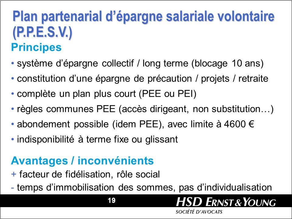 19 HSD SOCIÉTÉ DAVOCATS Principes système dépargne collectif / long terme (blocage 10 ans) constitution dune épargne de précaution / projets / retrait