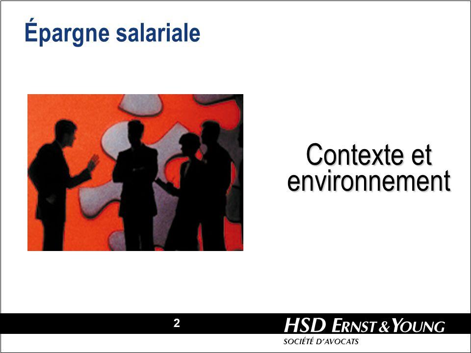 2 HSD SOCIÉTÉ DAVOCATS Épargne salariale Contexte et environnement