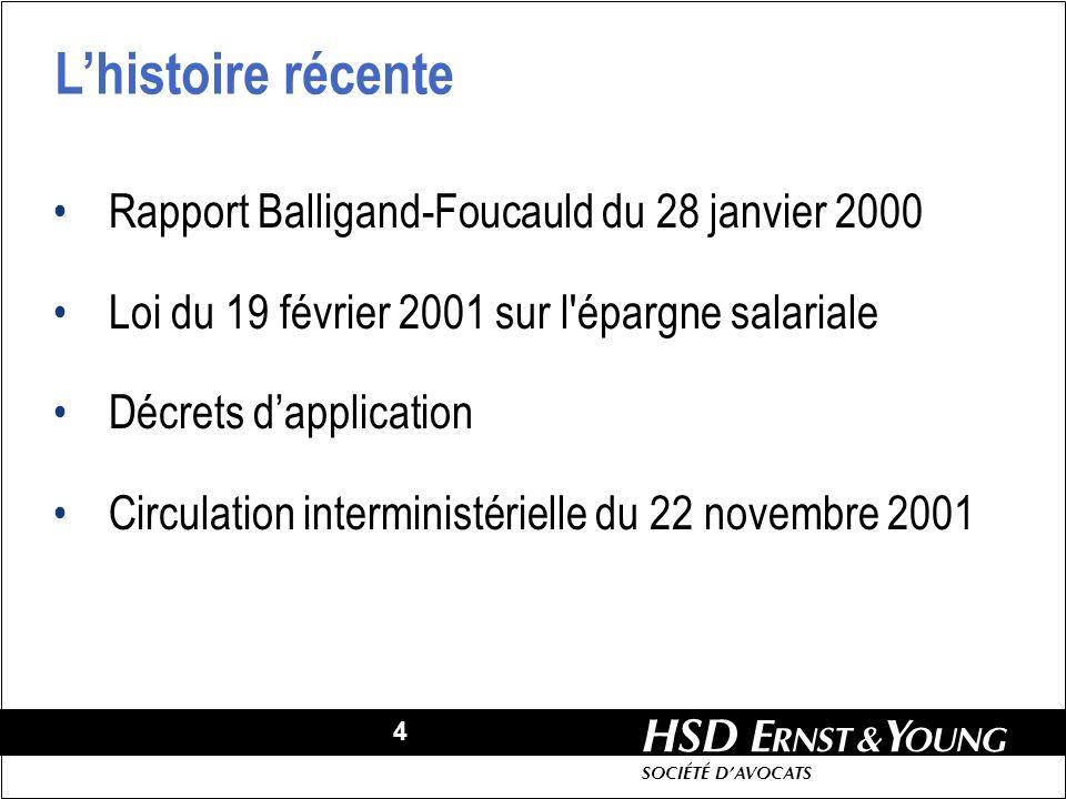 4 HSD SOCIÉTÉ DAVOCATS Rapport Balligand-Foucauld du 28 janvier 2000 Loi du 19 février 2001 sur l épargne salariale Décrets dapplication Circulation interministérielle du 22 novembre 2001 Lhistoire récente