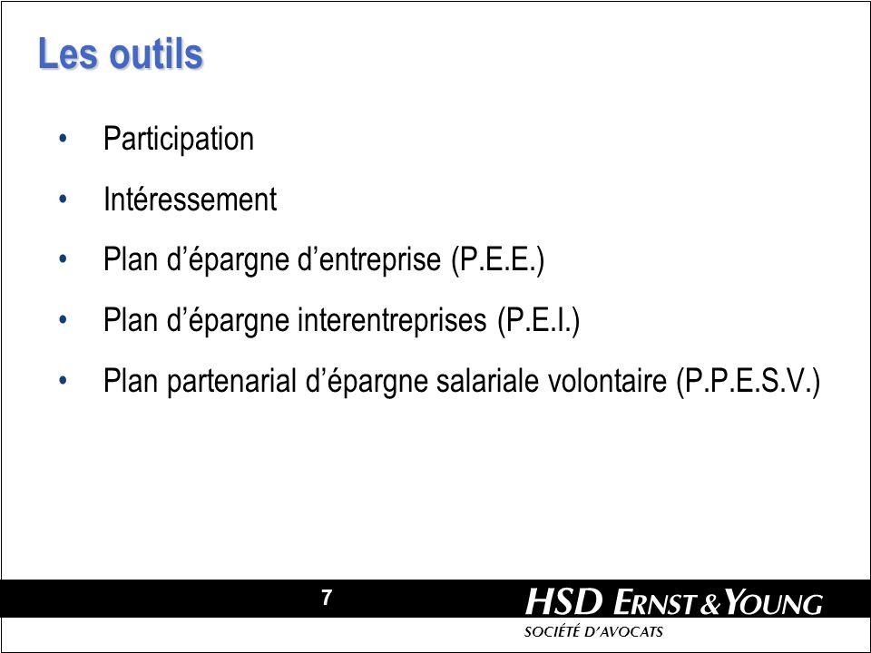 7 HSD SOCIÉTÉ DAVOCATS Participation Intéressement Plan dépargne dentreprise (P.E.E.) Plan dépargne interentreprises (P.E.I.) Plan partenarial dépargne salariale volontaire (P.P.E.S.V.) Les outils