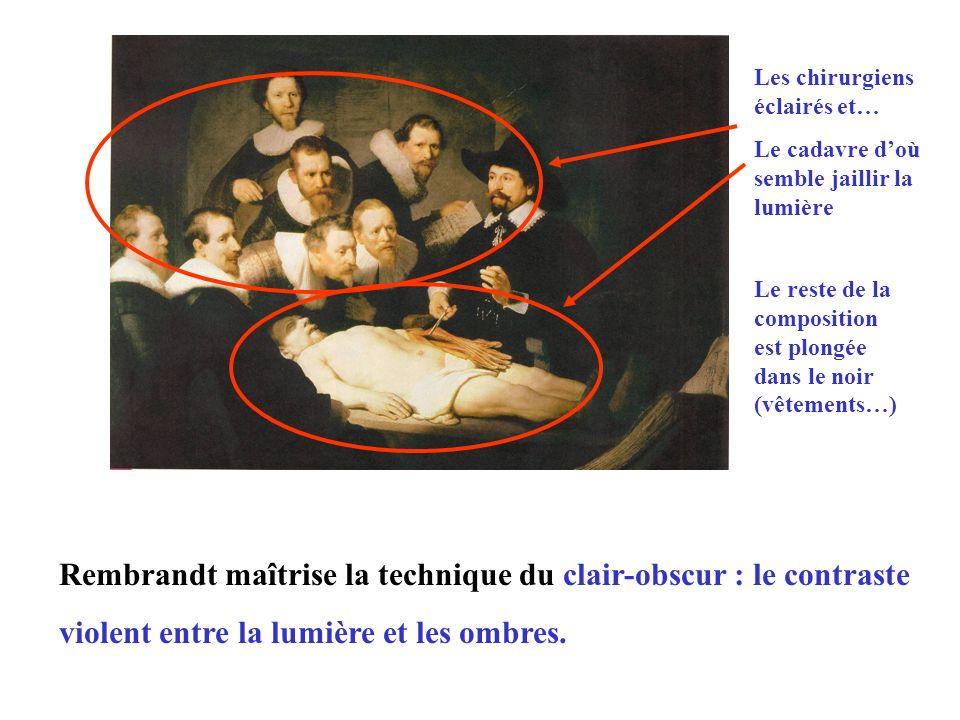 Le tableau montre une leçon danatomie avec un groupe de chirurgiens auprès du Professeur Nicolaes Tulp. C'est le premier portrait de groupe par Rembra