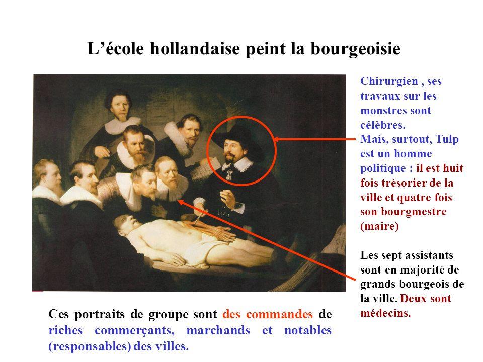 Rembrandt maîtrise la technique du clair-obscur : le contraste violent entre la lumière et les ombres. Les chirurgiens éclairés et… Le cadavre doù sem
