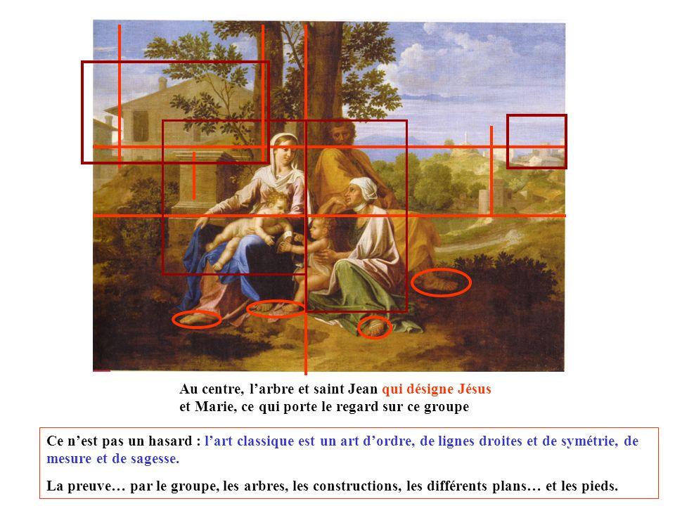 Le tableau illustre un sujet inspiré de la Bible. Marie, Jésus et Joseph sont représentés aux cotés de la cousine de Marie, Elisabeth, sans enfant jus