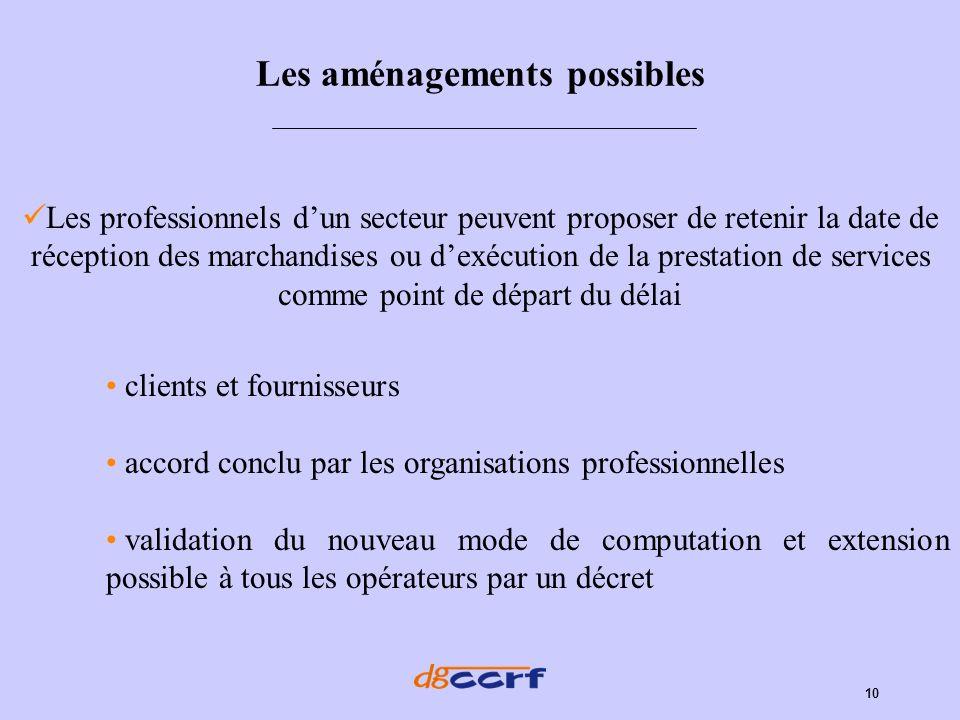 10 Les aménagements possibles Les professionnels dun secteur peuvent proposer de retenir la date de réception des marchandises ou dexécution de la pre