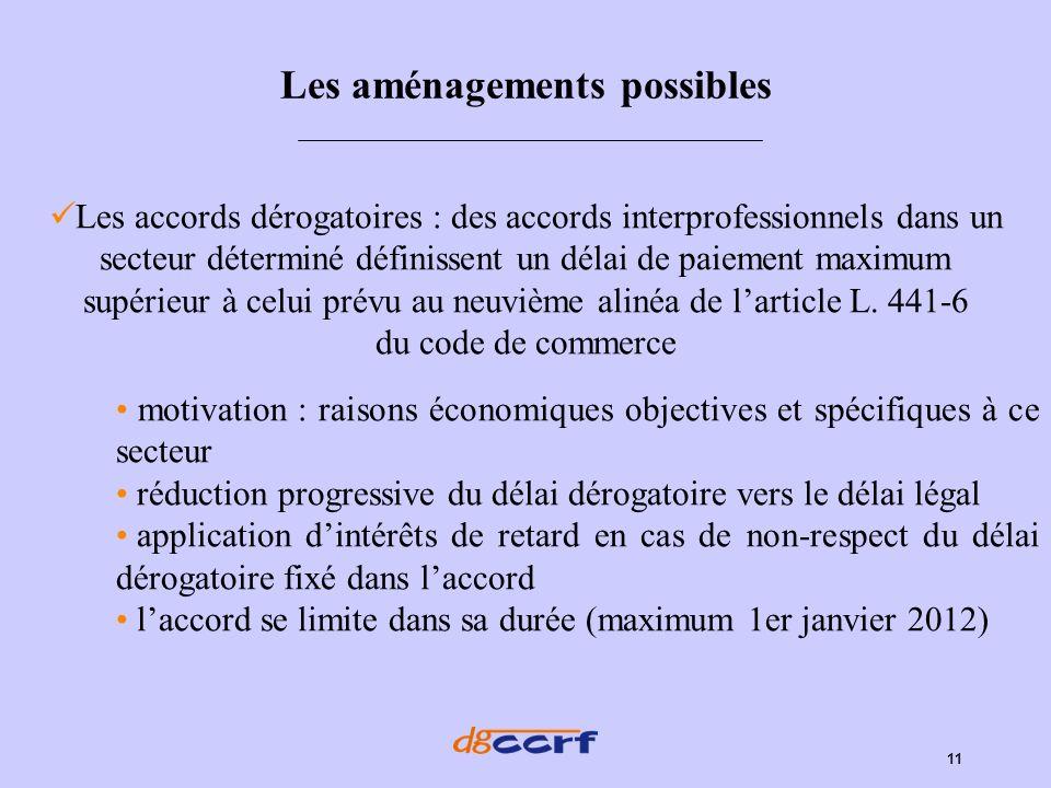 11 Les aménagements possibles Les accords dérogatoires : des accords interprofessionnels dans un secteur déterminé définissent un délai de paiement ma