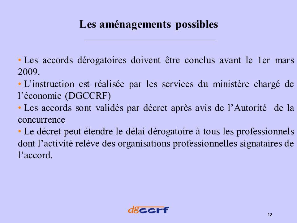 12 Les aménagements possibles Les accords dérogatoires doivent être conclus avant le 1er mars 2009. Linstruction est réalisée par les services du mini