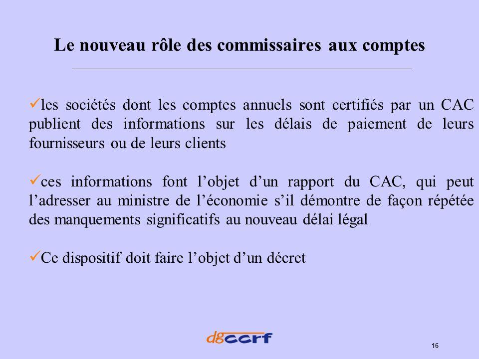 16 Le nouveau rôle des commissaires aux comptes les sociétés dont les comptes annuels sont certifiés par un CAC publient des informations sur les déla