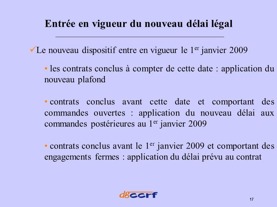 17 Entrée en vigueur du nouveau délai légal Le nouveau dispositif entre en vigueur le 1 er janvier 2009 les contrats conclus à compter de cette date :