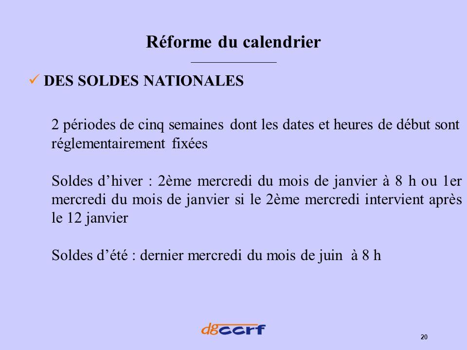 20 Réforme du calendrier DES SOLDES NATIONALES 2 périodes de cinq semaines dont les dates et heures de début sont réglementairement fixées Soldes dhiv