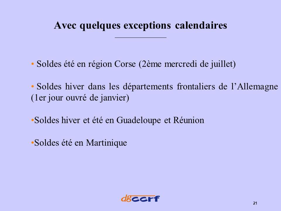 21 Avec quelques exceptions calendaires Soldes été en région Corse (2ème mercredi de juillet) Soldes hiver dans les départements frontaliers de lAllem